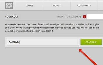 Picture showing where to enter key on GOG