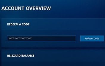 Picture showing where to redeem code on battle.net