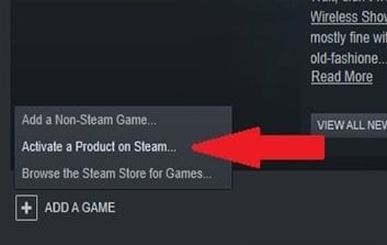 Arrow pointing where to find Activate a Product on Steam.